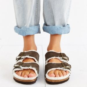 Birkenstock Arizona Mocha Shearling Sandals 41